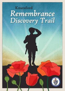 The front cover of the Remembrance Discovery Trail showing a silhouetted solider and some poppies