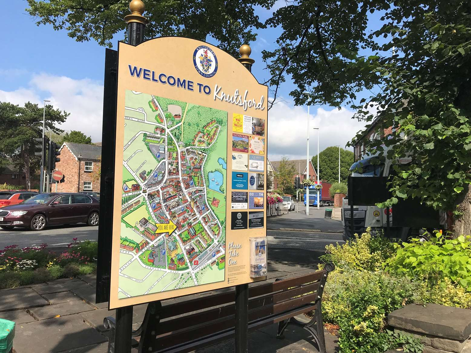 A large map of Knutsford Town Centre