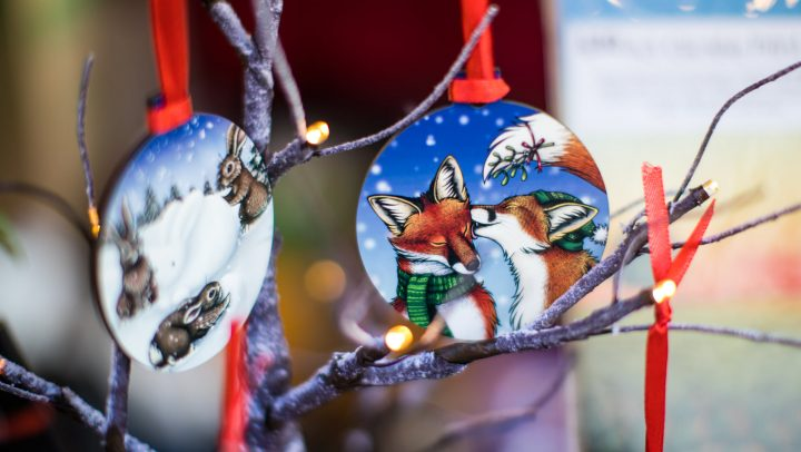 Two illustrated baubles with an image of a fox on