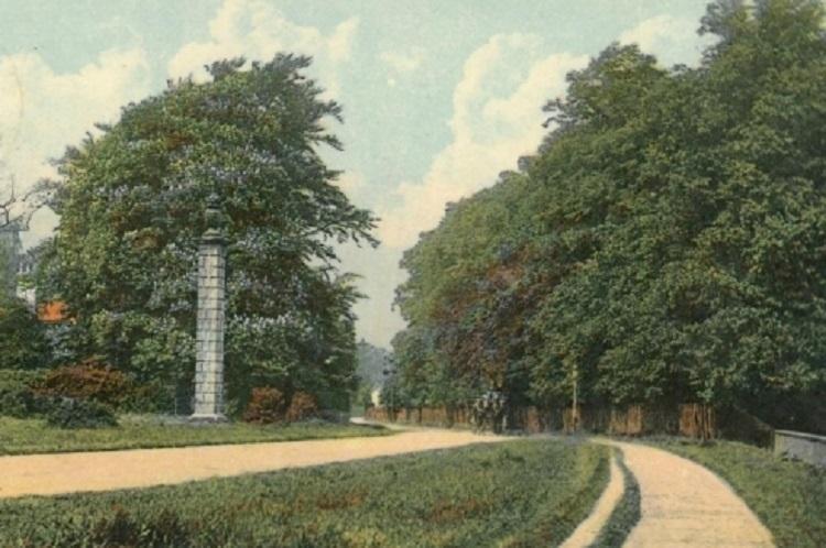 Old postcard showing the obelisk