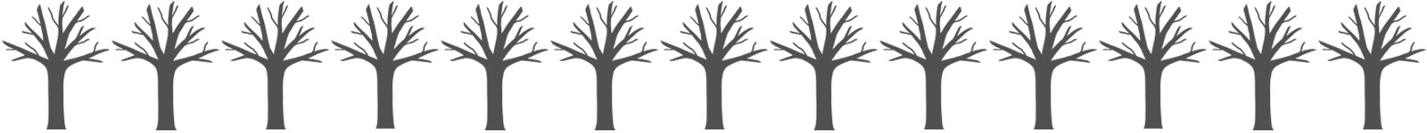 13 leafless tree graphics, denoting no trees have been planted.
