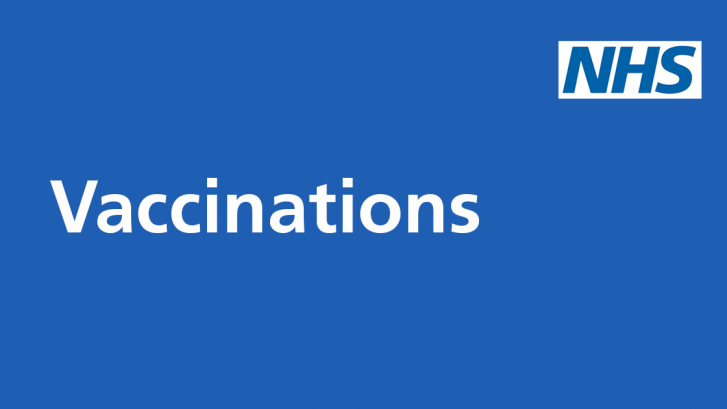 NHS logo with the word 'Vaccinations' on a blue background