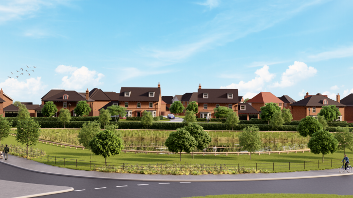 Computer generated illustration of the entrance to the Northwich Road development in Knutsford