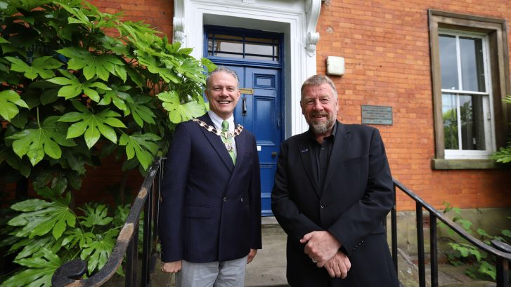 Town Mayor Cllr Gardiner with Ian Cass outside the Council Offices