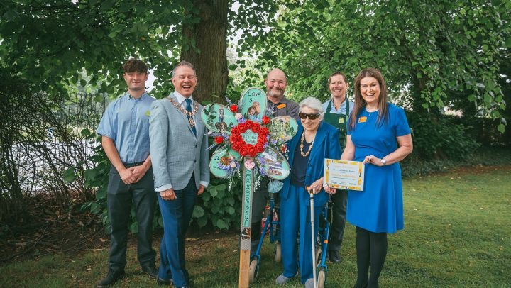 Town Mayor with Sunrise Mobberley's flower