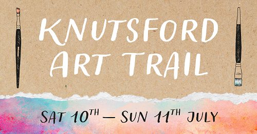 A graphic with the text: Knutsford Art Trail, Saturday 10th to Sunday 11th July