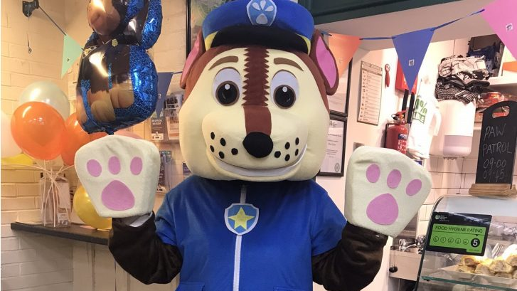 Chase from Paw Patrol outside the Market Cafe