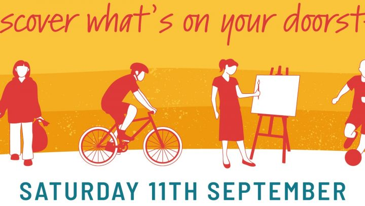 """Text reads """"discover what's on your doorstep, saturday 11th September"""", four graphic show a litterpicker, cyclist, artist and footballer."""